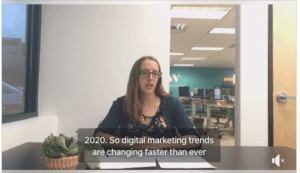 Shayna going over top digital marketing trends for 2020.